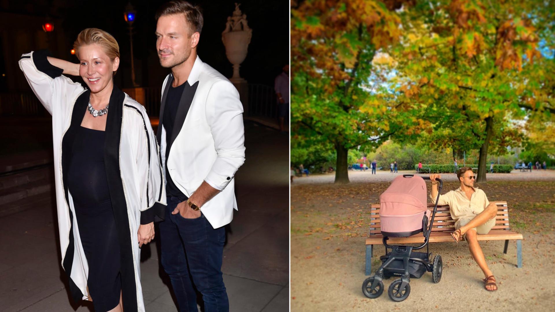 Katarzyna Warnke z mężem i dzieckiem na pierwszym spacerze. Rodzice korzystają z pięknej pogody