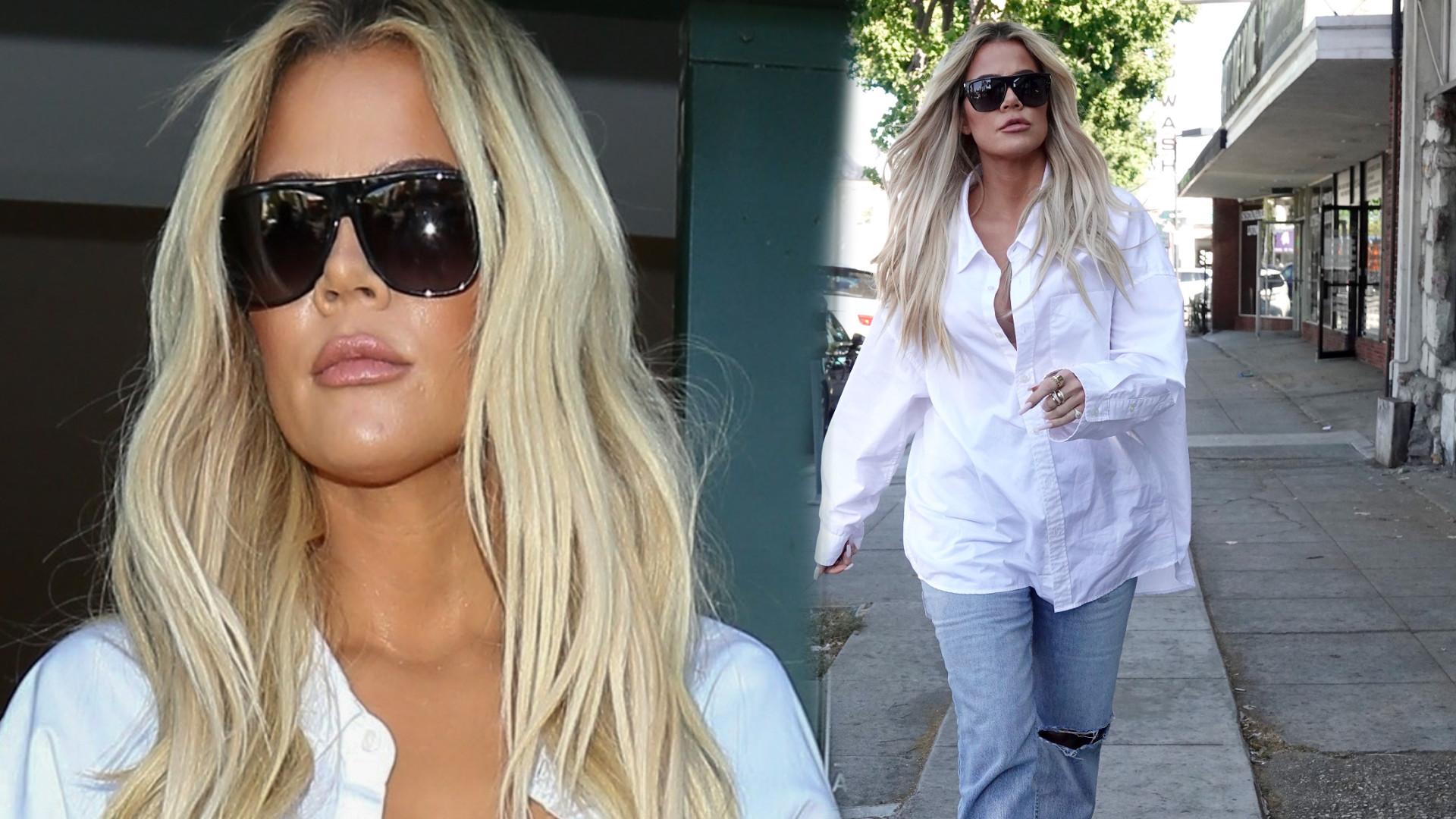 Khloe Kardashian ze stanikiem na wierzchu zmasakrowała swoją sylwetkę! Wygląda jak w ciuchach po bracie