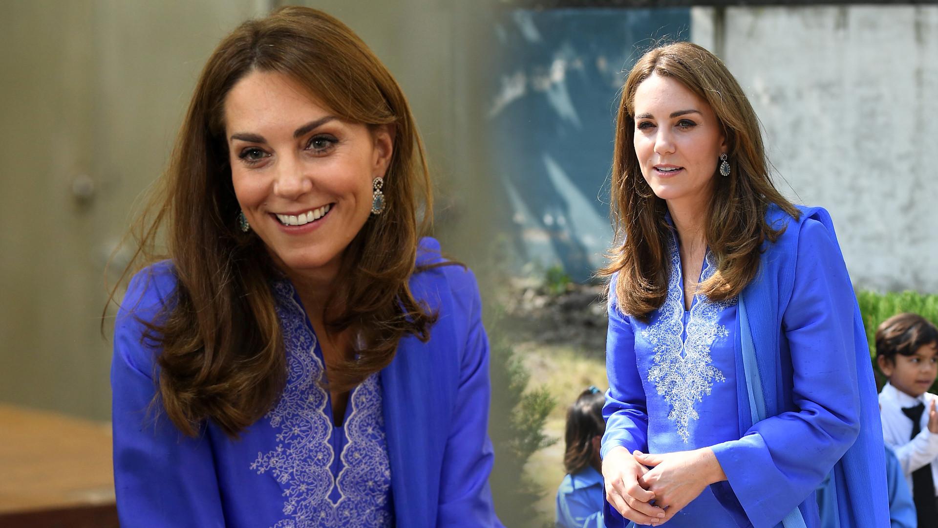 Księżna Kate w tradycyjnym stroju w Pakistanie. Dobrała do niego modne buty (ZDJĘCIA)