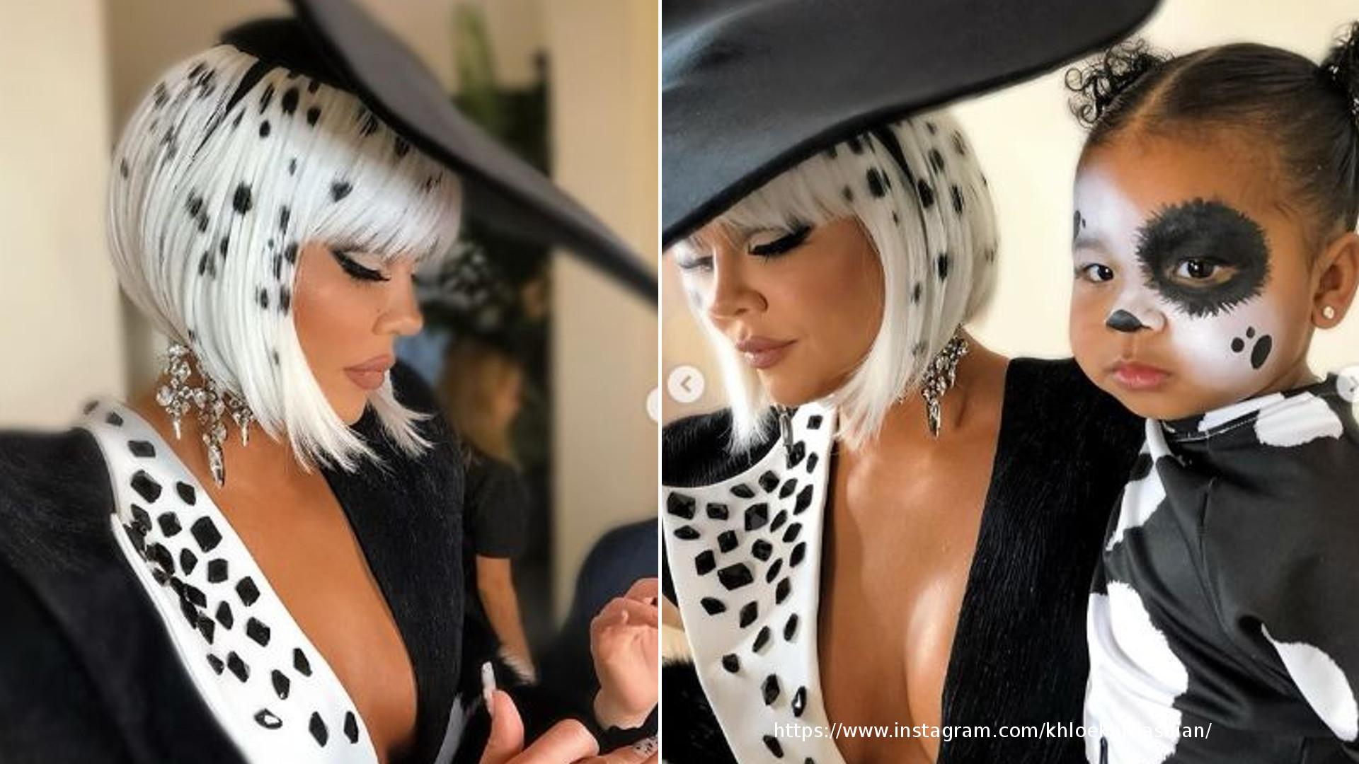 WOW! Khloe Kardashian jako Cruella deVil z córeczką w halloweenowym przebraniu (ZDJECIA)