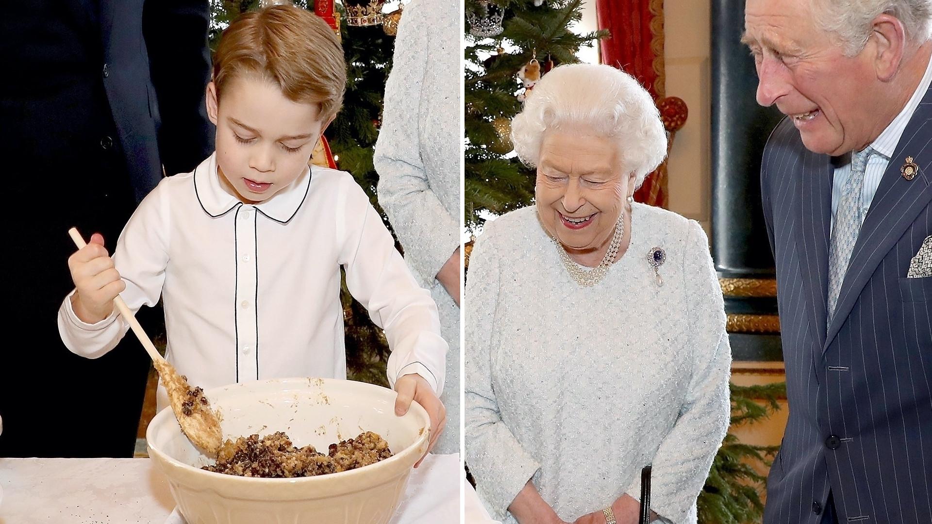 Książę George miesza świąteczne danie w misce, a prababcia Ela, dziadek Karol i tata William kibicują mu w pracy (ZDJĘCIA)