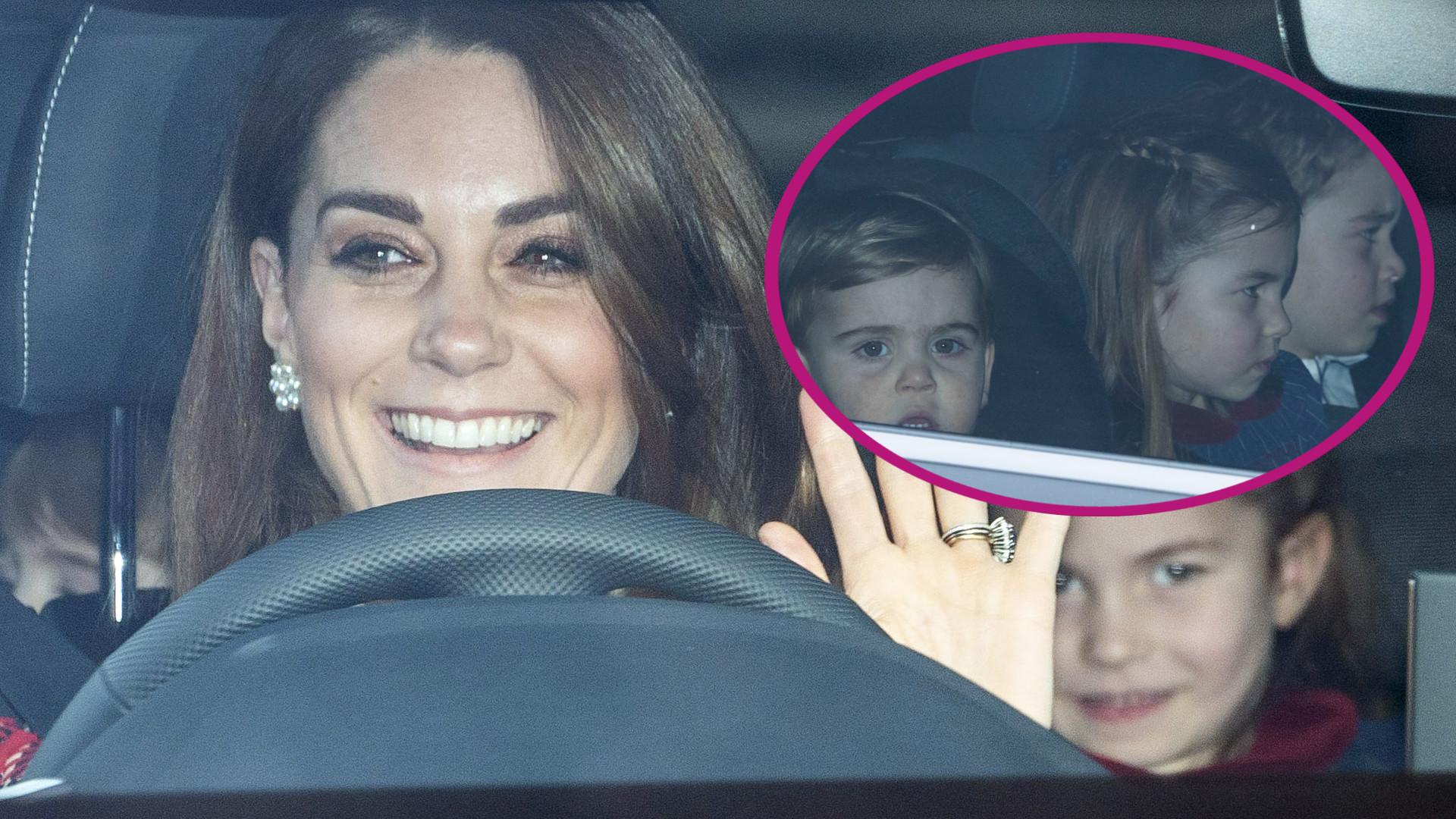 Kate i William z dziećmi jadą na świąteczne party do królowej