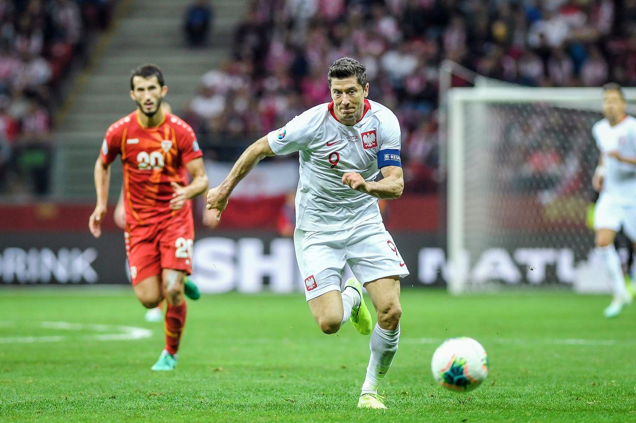 Robert Lewandowski podczas meczu
