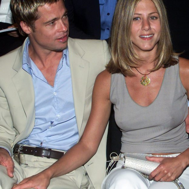 U.S. ACTOR BRAD PITT WITH WIFE JENNIFER ANISTON DURING ARMANI FASHION SHOW IN MILAN.