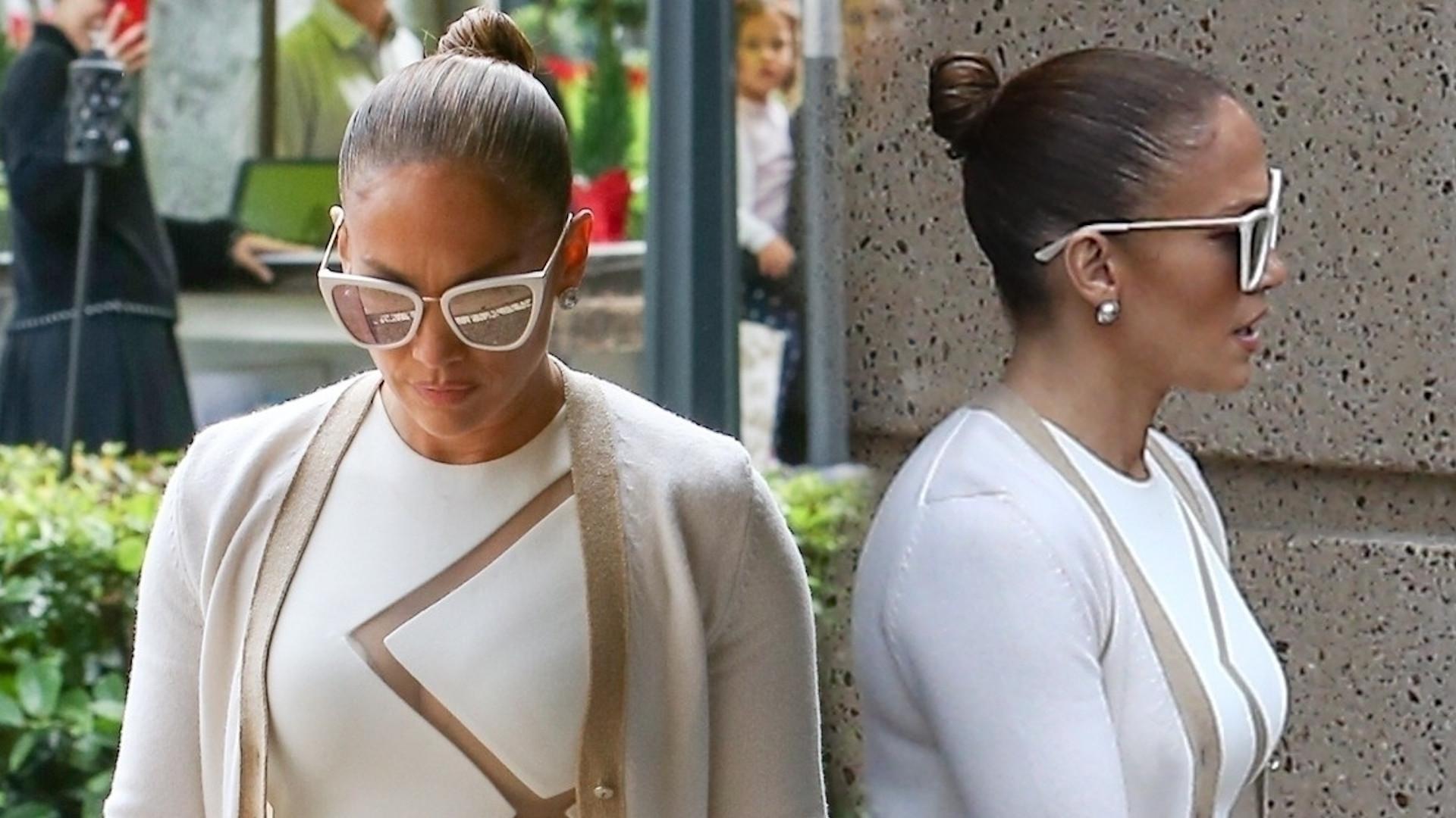 Jennifer Lopez wcisnęła pośladki w obcisłą sukienkę i założyła ulubione buty Kardashianek (ZDJĘCIA)