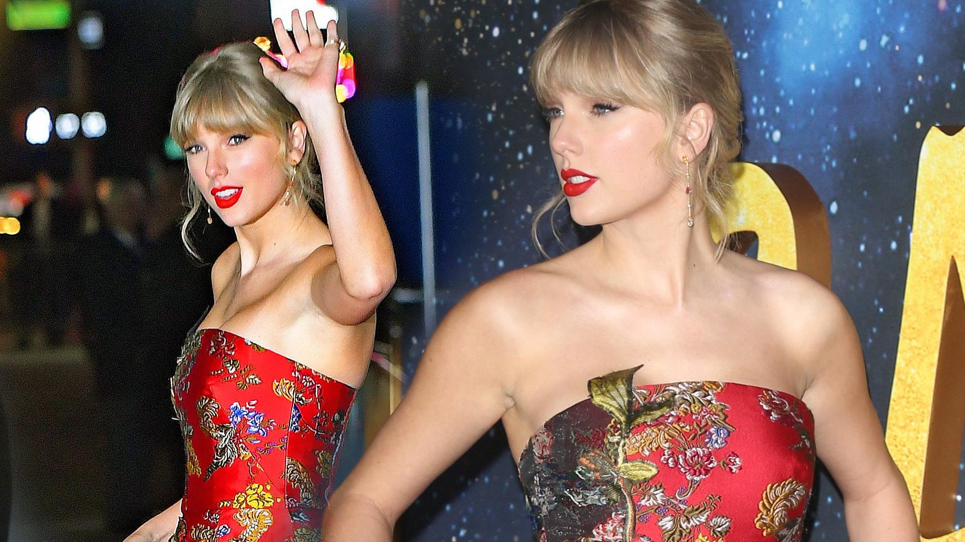 Taylor Swift we wspaniałej sukni od Oscara de la Renty na premierze musicallu Cats (ZDJĘCIA)