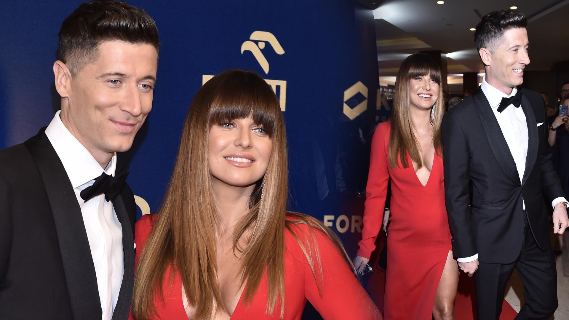 Anna Lewandowska na Gali Mistrzów Sportu w czerwonej sukience. Trzymała się za brzuszek (ZDJĘCIA)