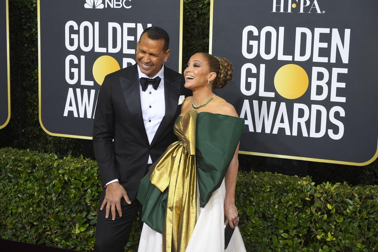 Jennifer Lopez i Alex Rodriguez na rozdaniu Złotych Globów.