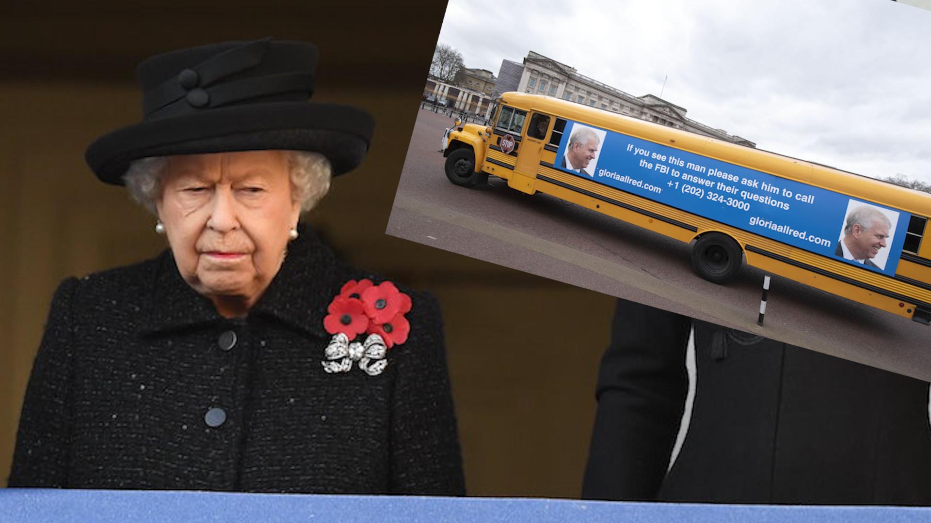Królowa Elżbieta tego nie wytrzyma! Przed pałacem pojawił się autokar z wizerunkiem księcia Andrzeja