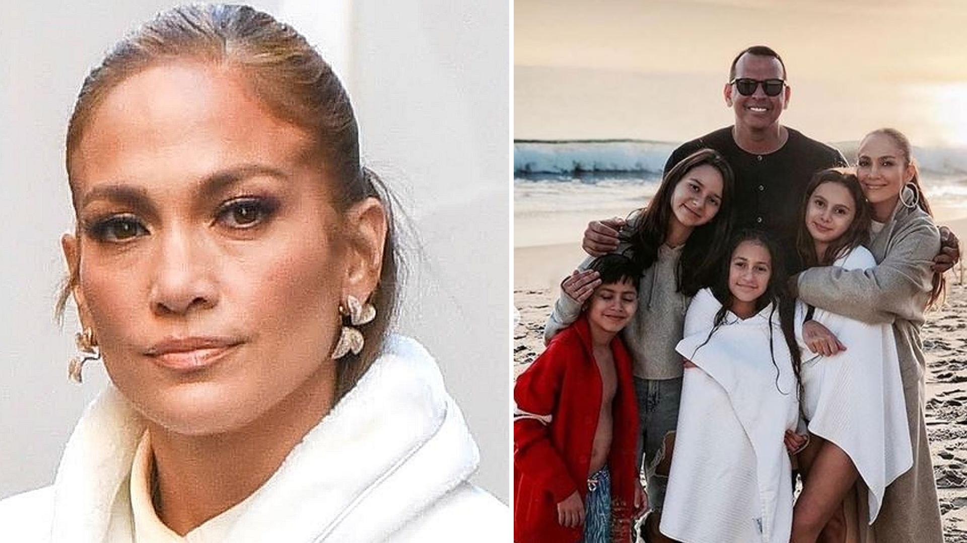 Jennifer Lopez nagrała TikToka z narzeczonym i dziećmi. Nie ma na sobie żadnego makijażu