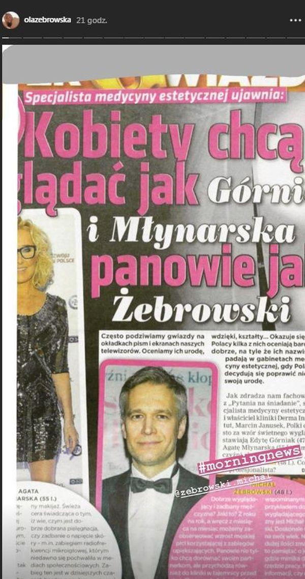 Ola Żebrowska pokazała artykuł, w którym jest napisane, że polscy mężczyźni chcą wyglądać jak jej mąż, Michł Żebrowski