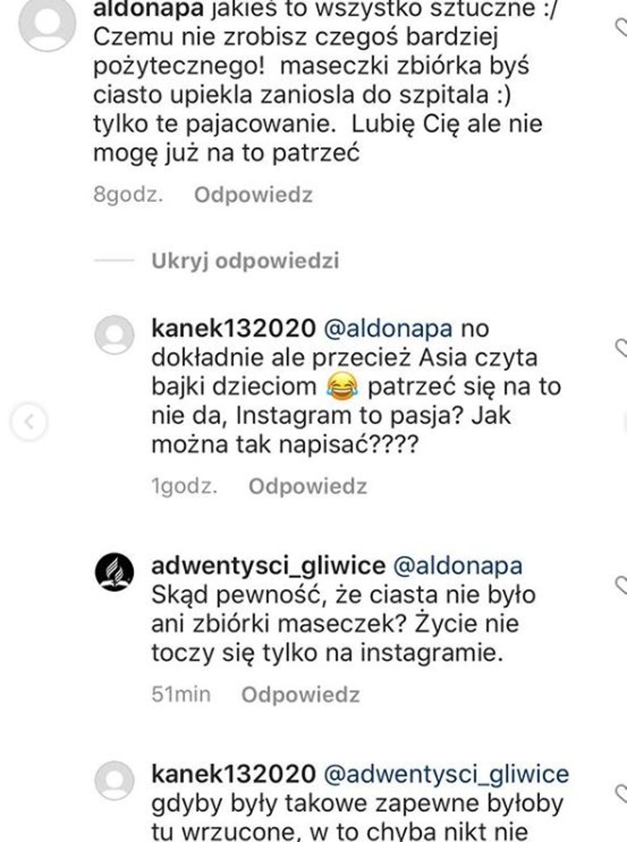 Hejterskie komentarz pod zdjęciem Joanny Koroniewskiej na Instagramie
