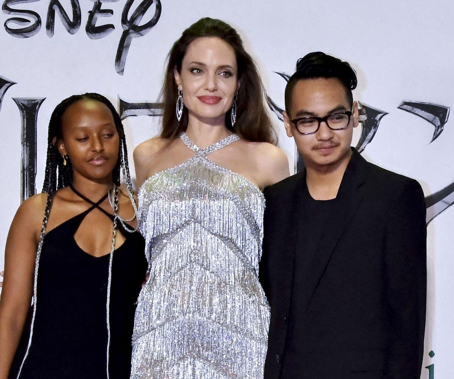 Angelina Jolie z córką Zaharą i synem Maddoxem.