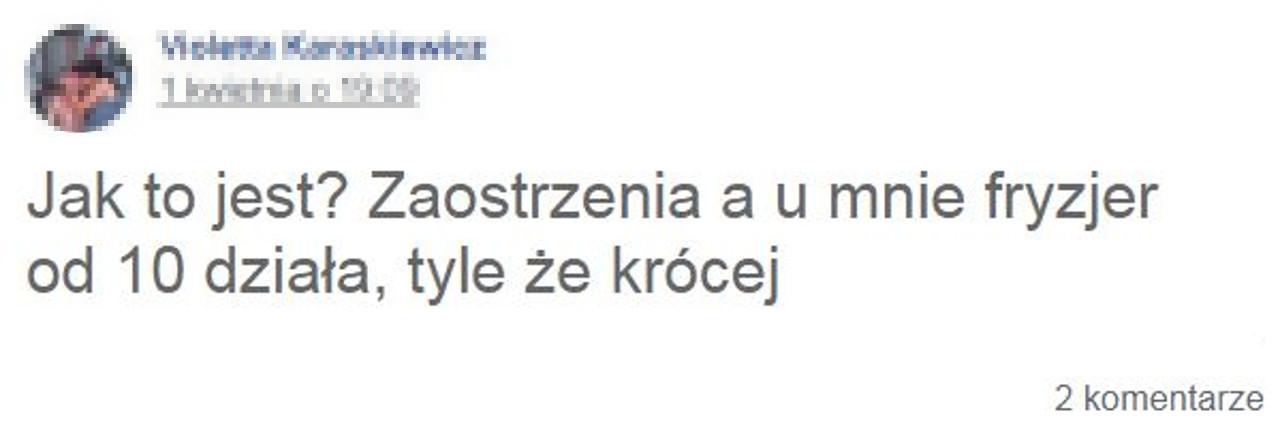 Screen z grupy na Facebooku pod postem o otwartych zakładach kosmetycznych podczas pandemii