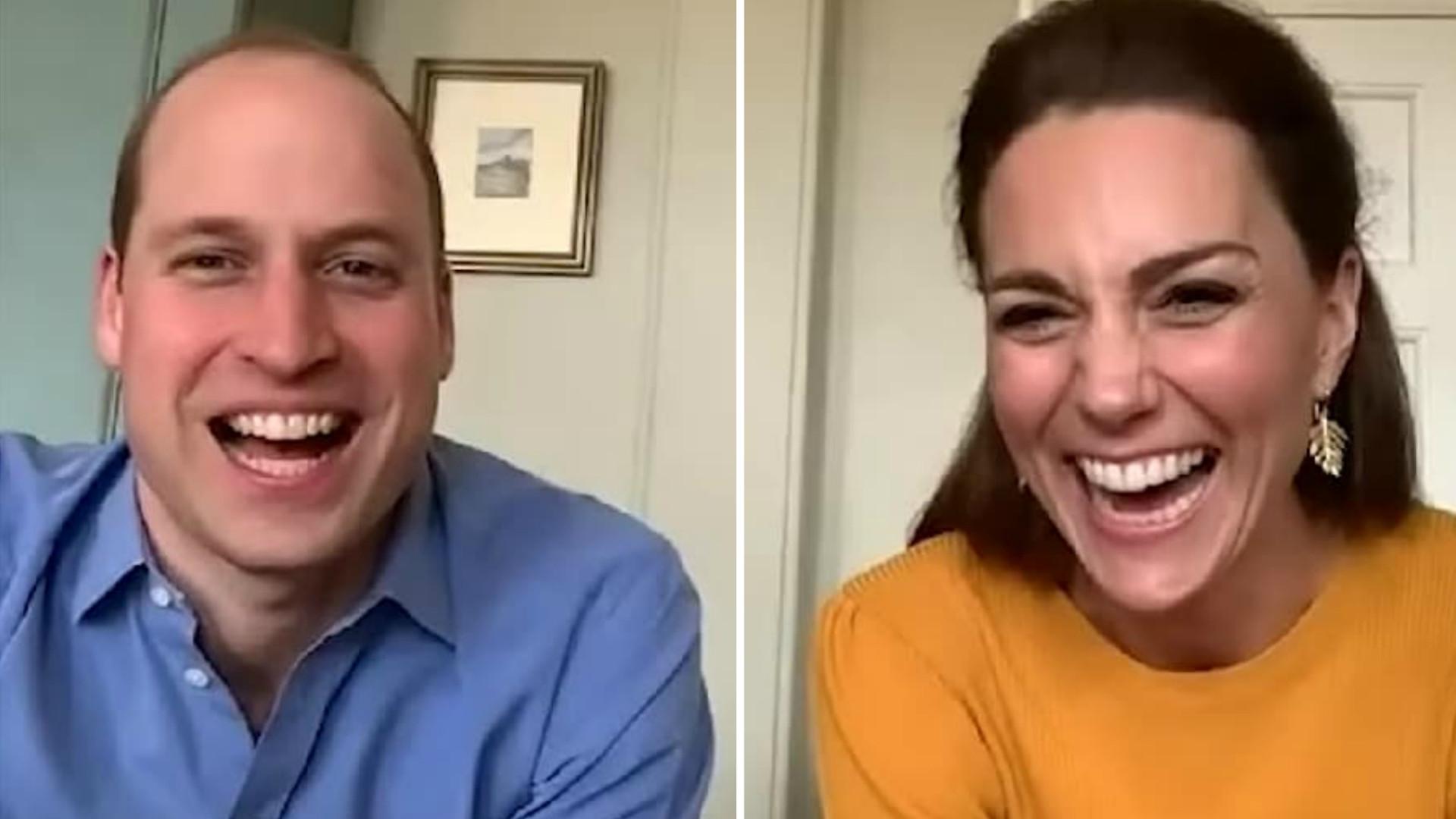 książę William i księżna Kate na wideorozmowie