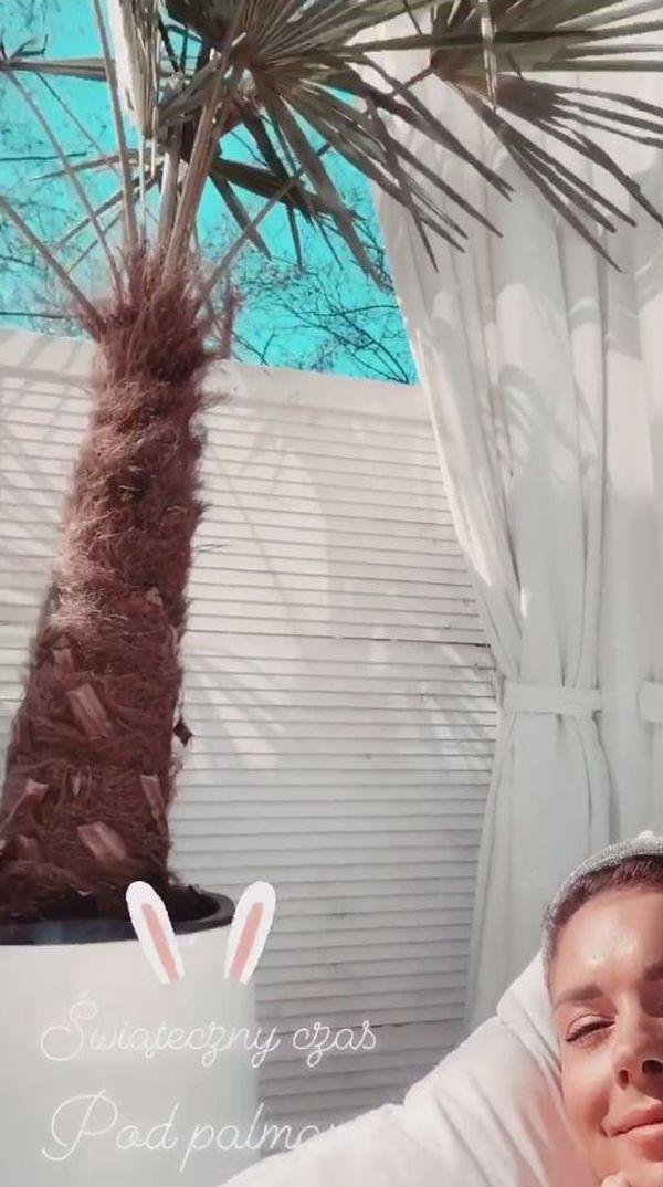 Pierwszy dzień Wielkanocy Klaudia Halejcio spędziła na tarasie