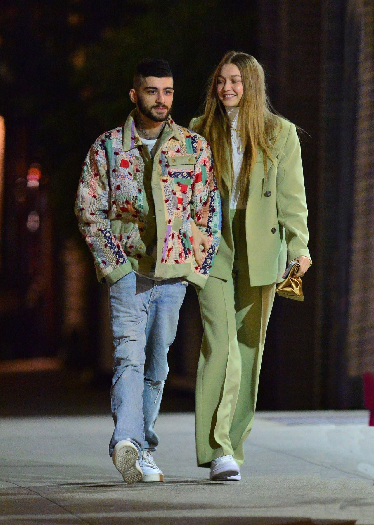 Zayn Malik i Gigi Hadid w zielonym garniturze