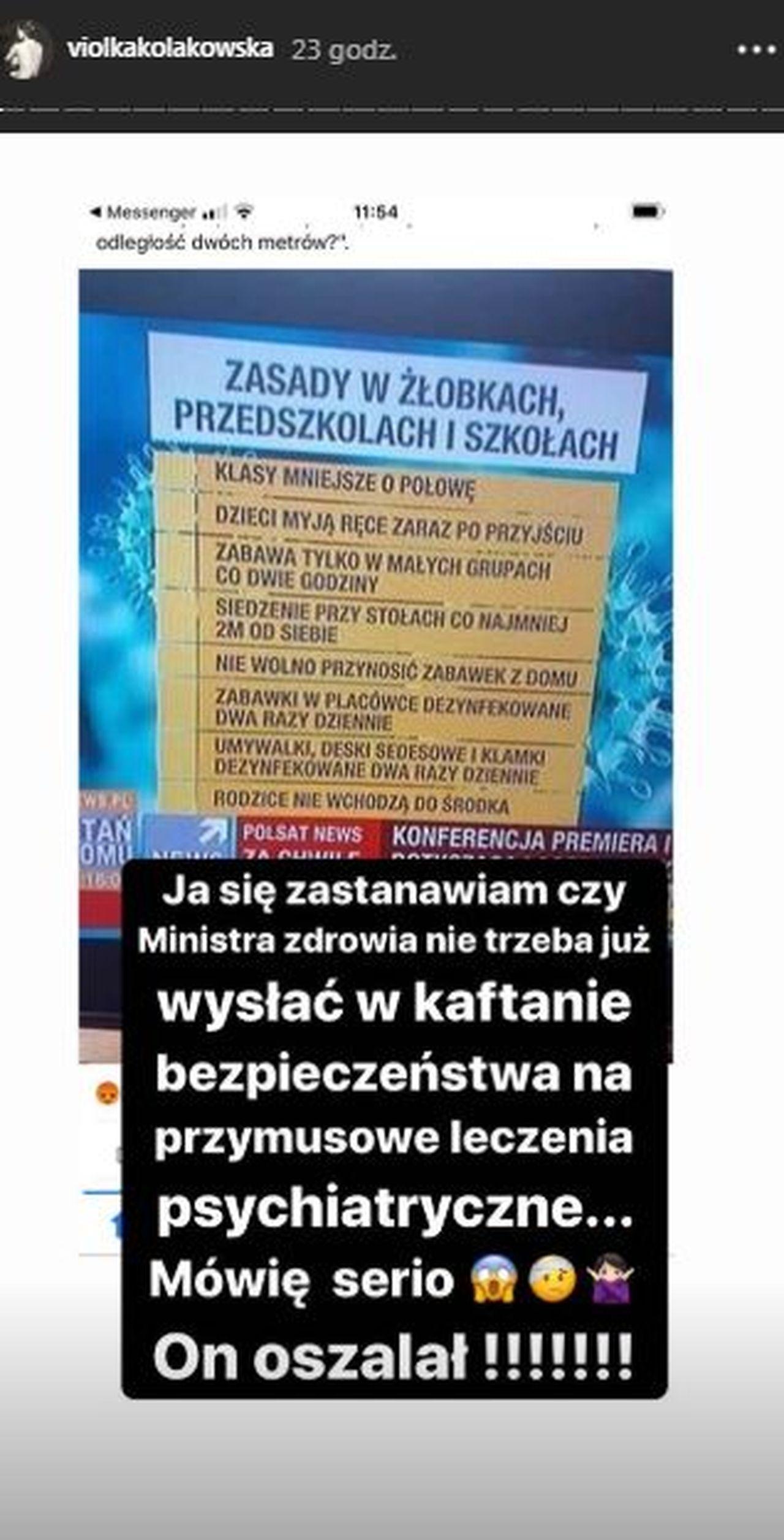 InstaStory Violi Kołakowskiej na temat ministra Szumowskiego