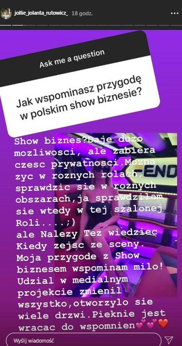 Jola Rutowicz, sesja Q&A, InstaStory celebrytki