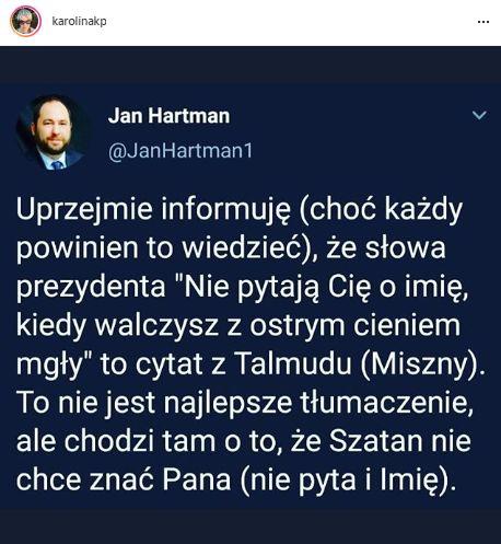 """Prof. Jan Hartman tłumaczy, co znaczą słowa """"Nie pytają cię o imię, walczą z ostrym cieniem mgły"""""""