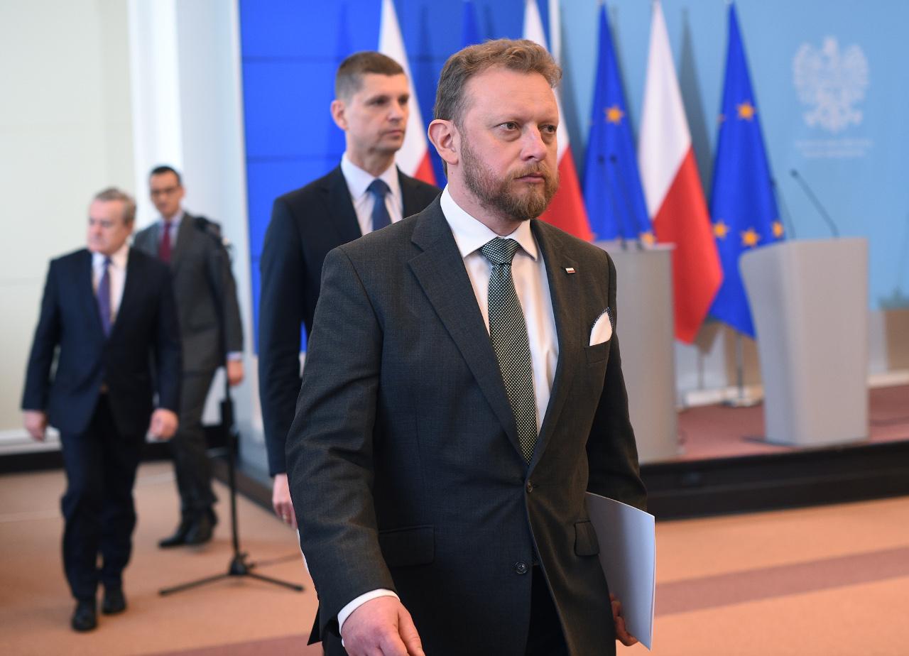 Łukasz Szumowski na konferencji prasowej dotyczącej koronawirusa.