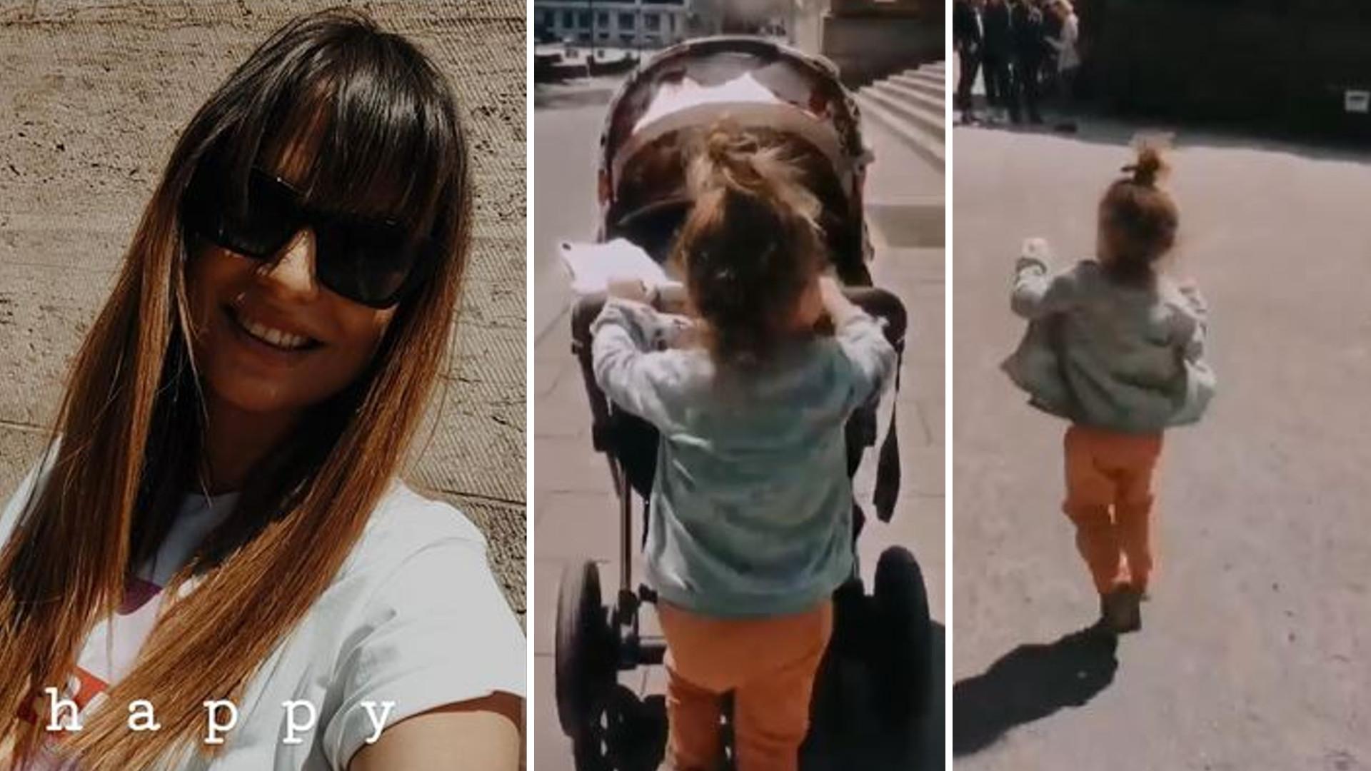 Anna Lewandowska na spacerze z córeczkami – Klara zajmuje się siostrą