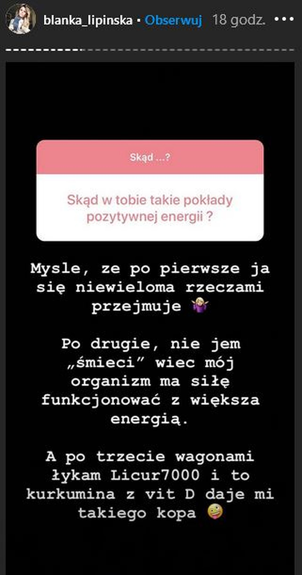 Blanka Lipińska o diecie
