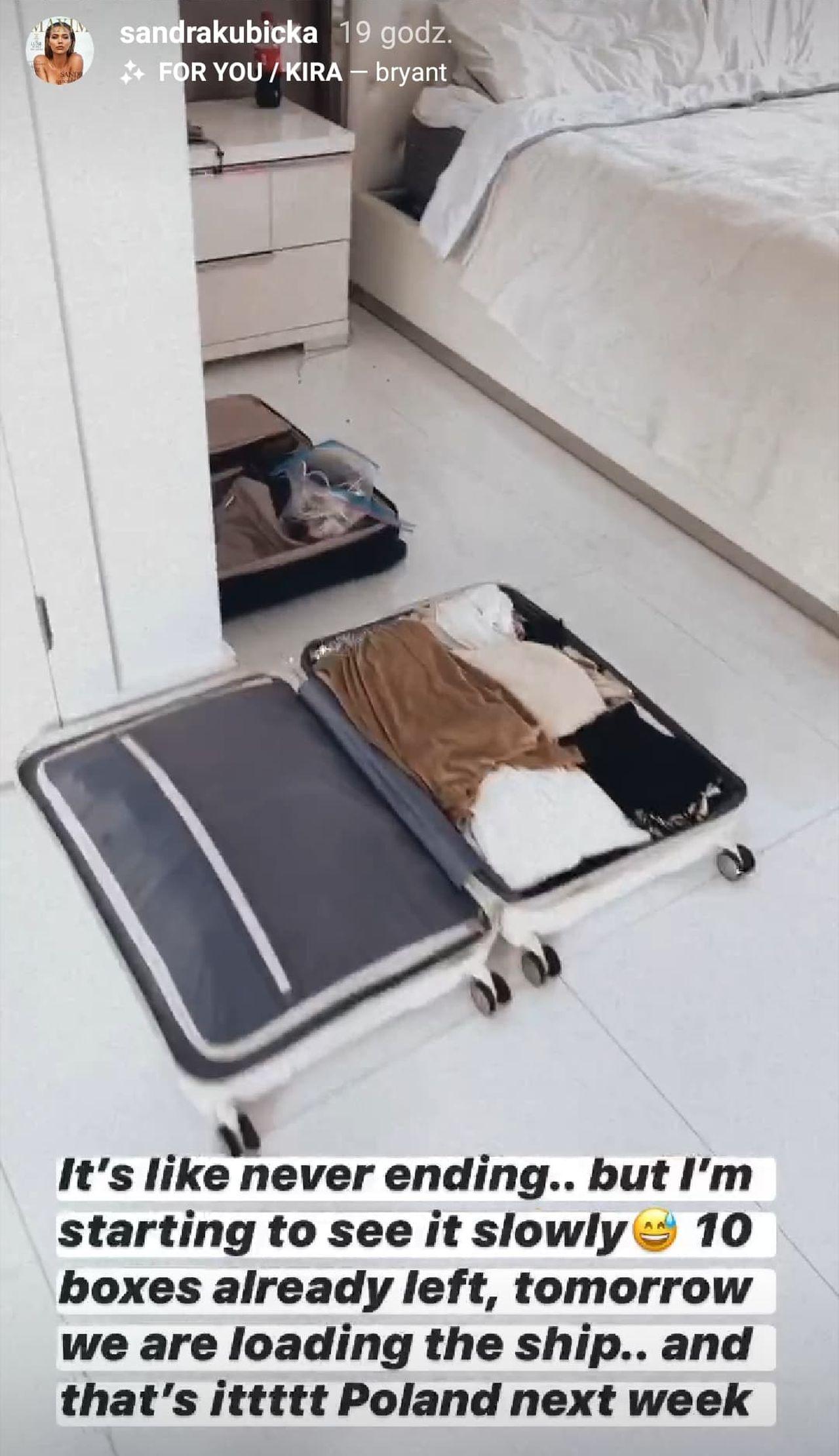 Sandra Kubicka pakuje się i wraca do Polski