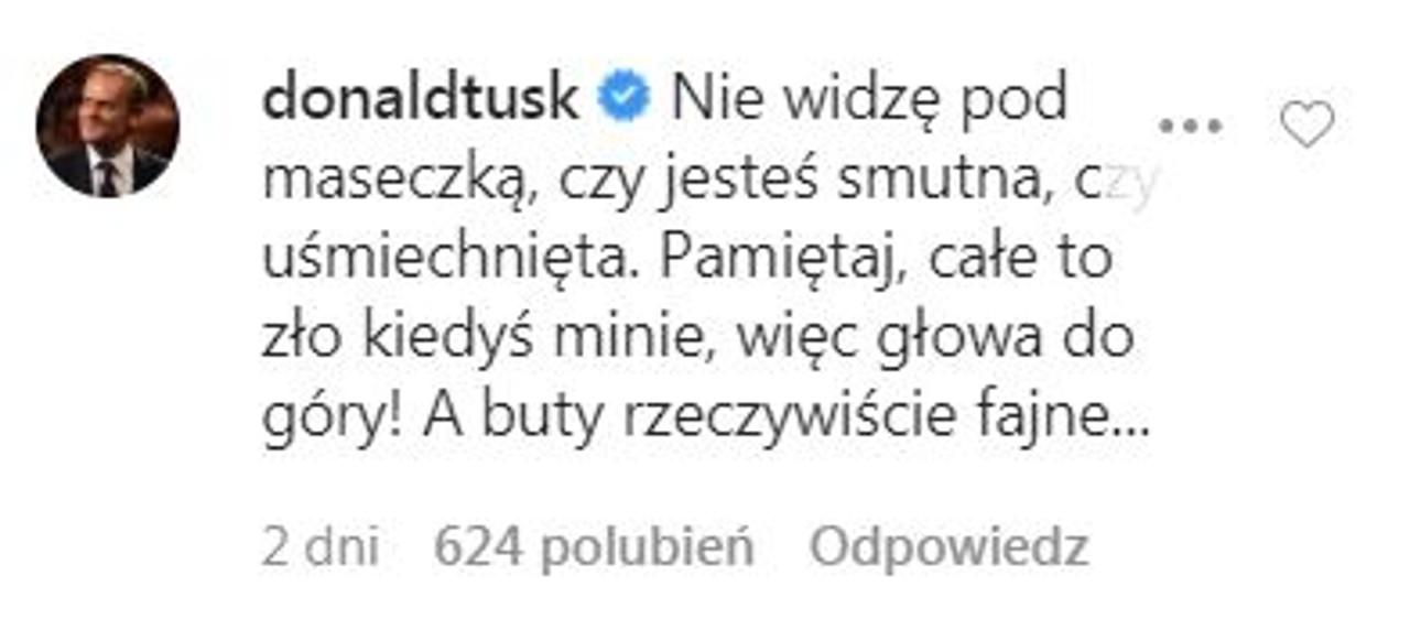 Donald Tusk wspiera córkę na Instagramie.