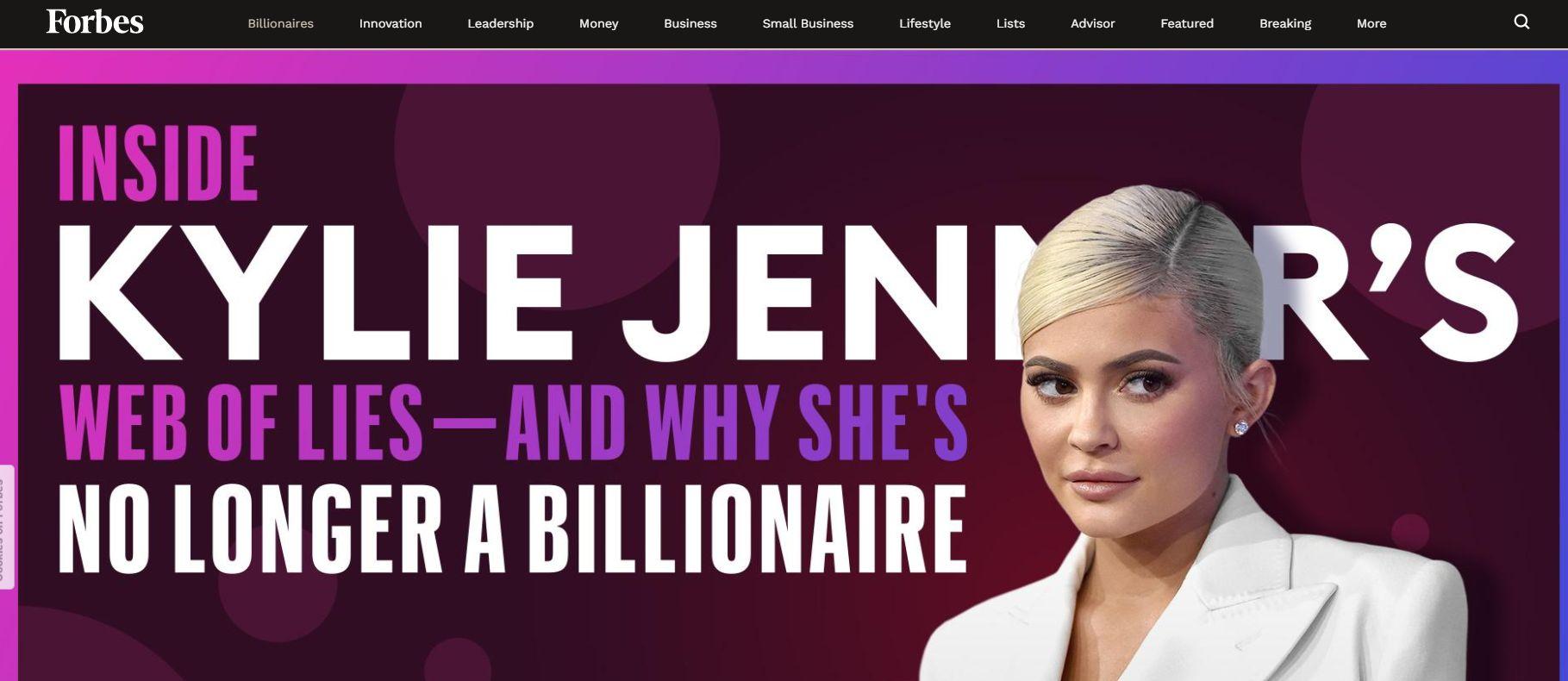 """Nagłówek na stronie internetowej magazynu """"Forbes"""" sugeruje, że Kylie Jenner mijała się z prawdą, gdy podawała dane na temat swego dochodu"""