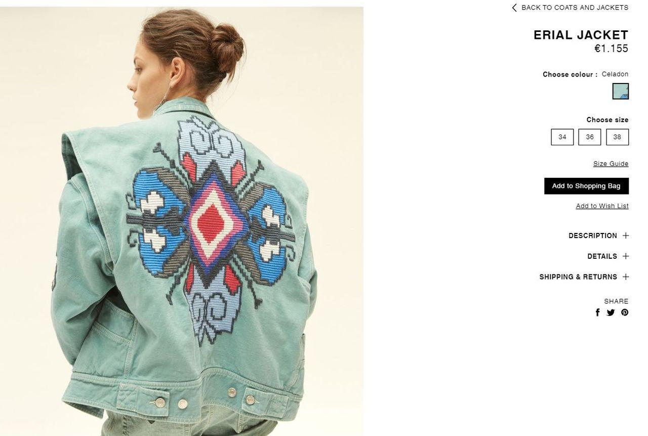 Isabel Marant, haftowana dżinsowa kurtka za 1.155 euro