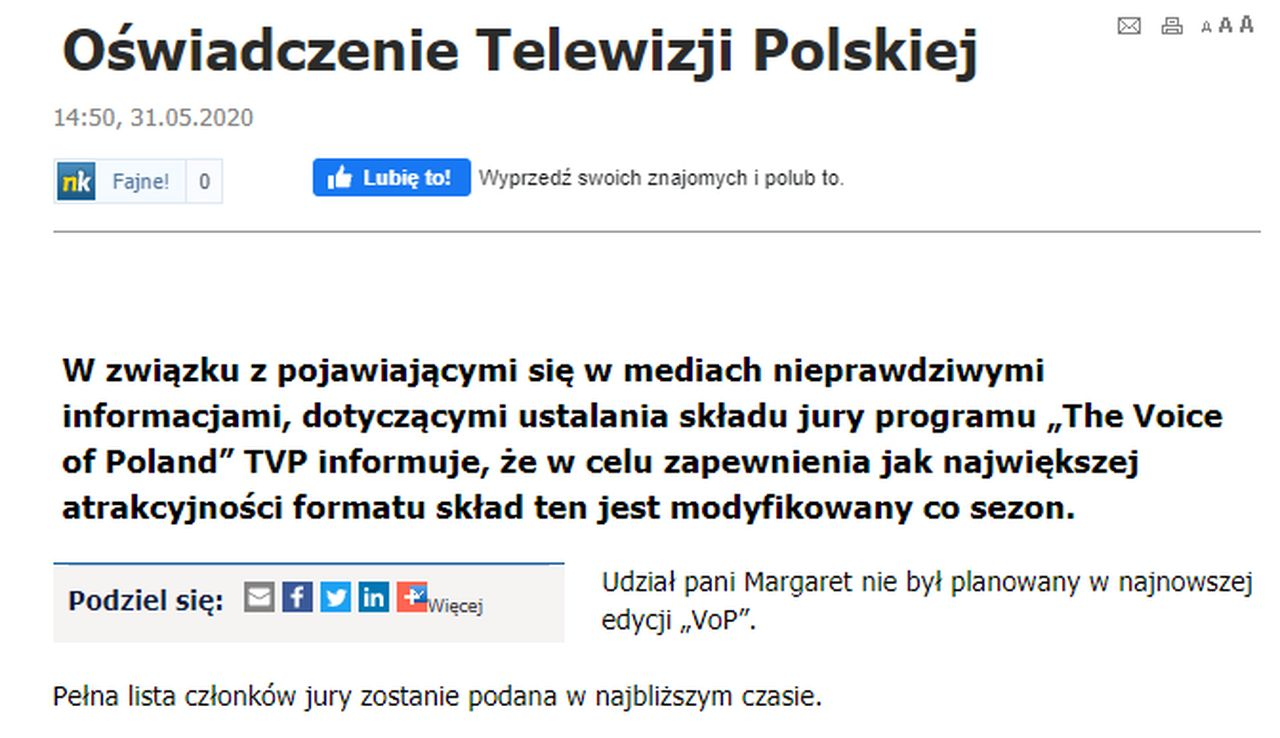 "TVP o udziale Margaret w ""The Voice of Poland"""