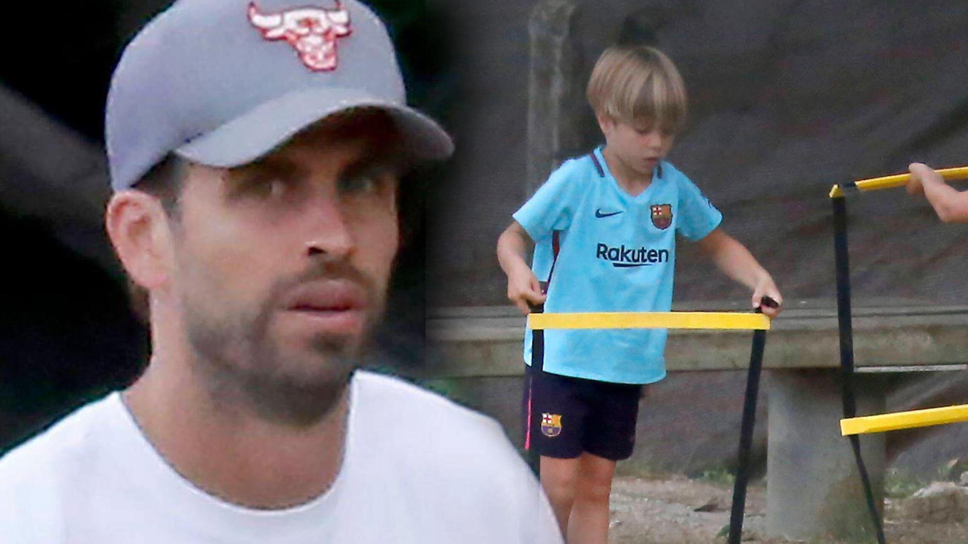 Gerard Pique robi synom treningi piłki nożnej (ZDJĘCIA)