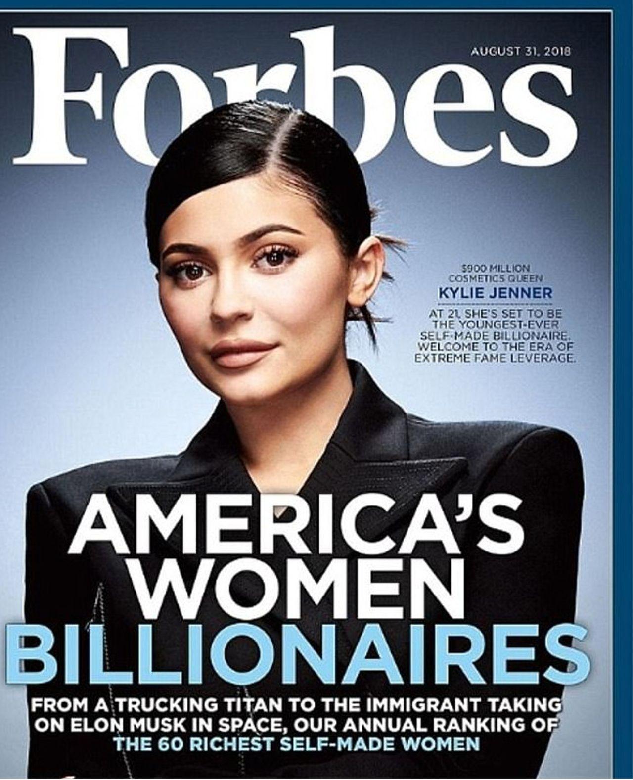 Kylie Jenner na okładce magazyny Forbes w 2018 roku.