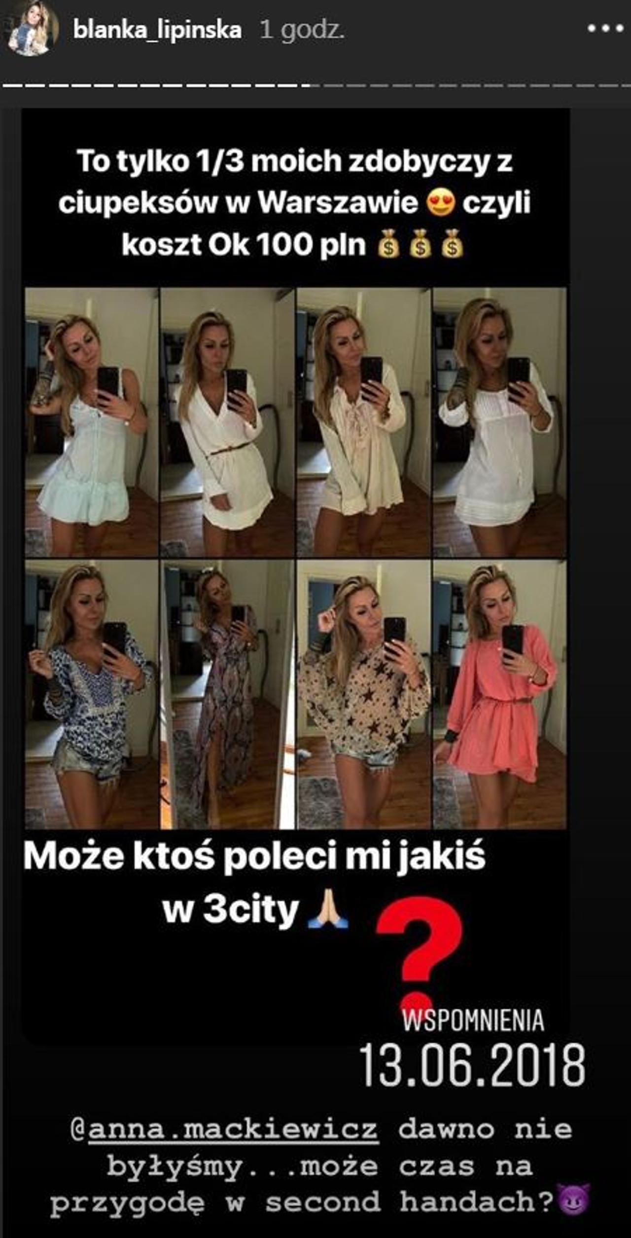 Blanka Lipińska kupuje ubrania w second-handach.