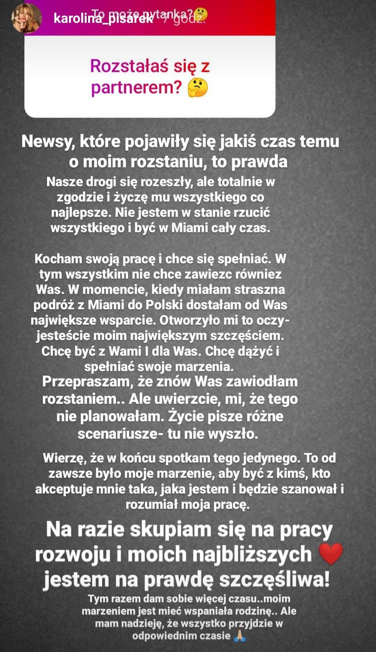 Karolina Pisarek komentuje rozstanie
