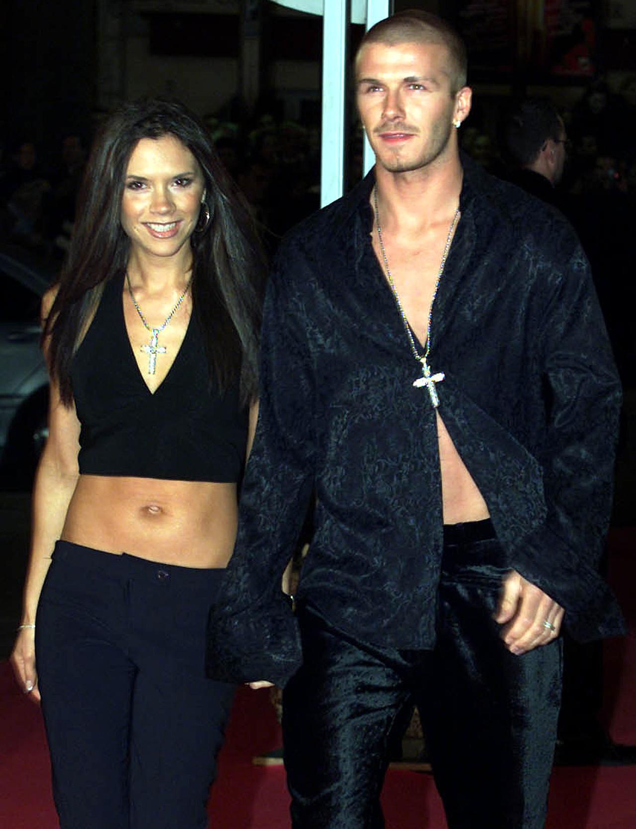 Victoria Beckham i David Beckham na początku związku.