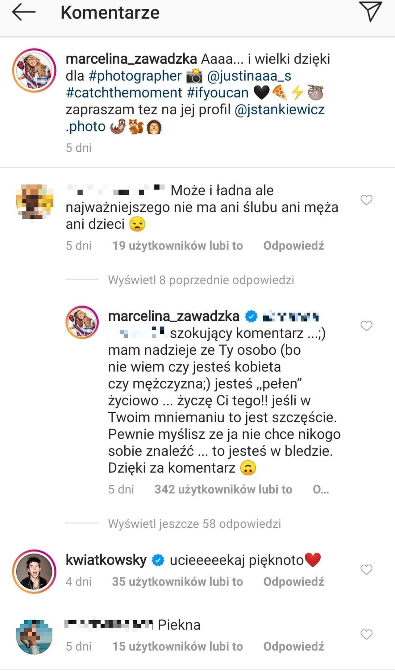 Marcelina Zawadzka odpowiada na komentarz o ślubie