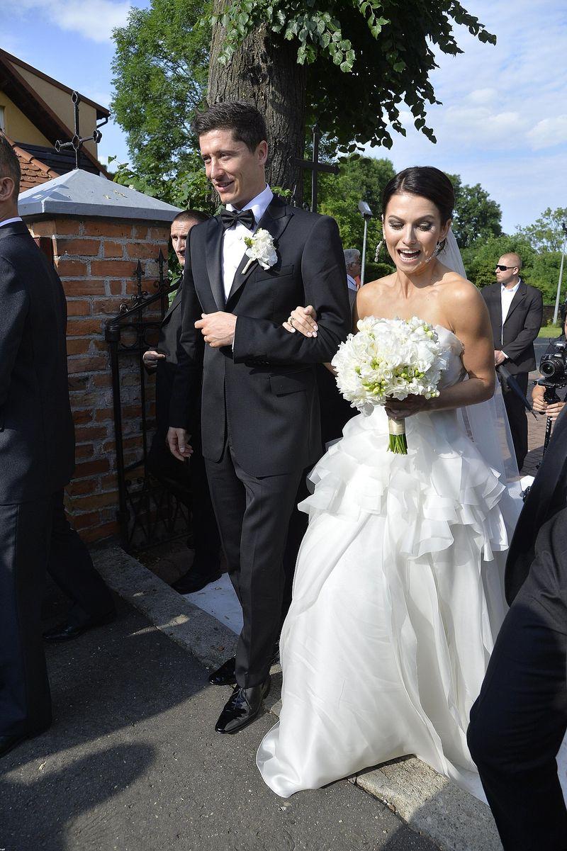 Robert Lewandowski i Anna Lewandowska na własnym ślubie