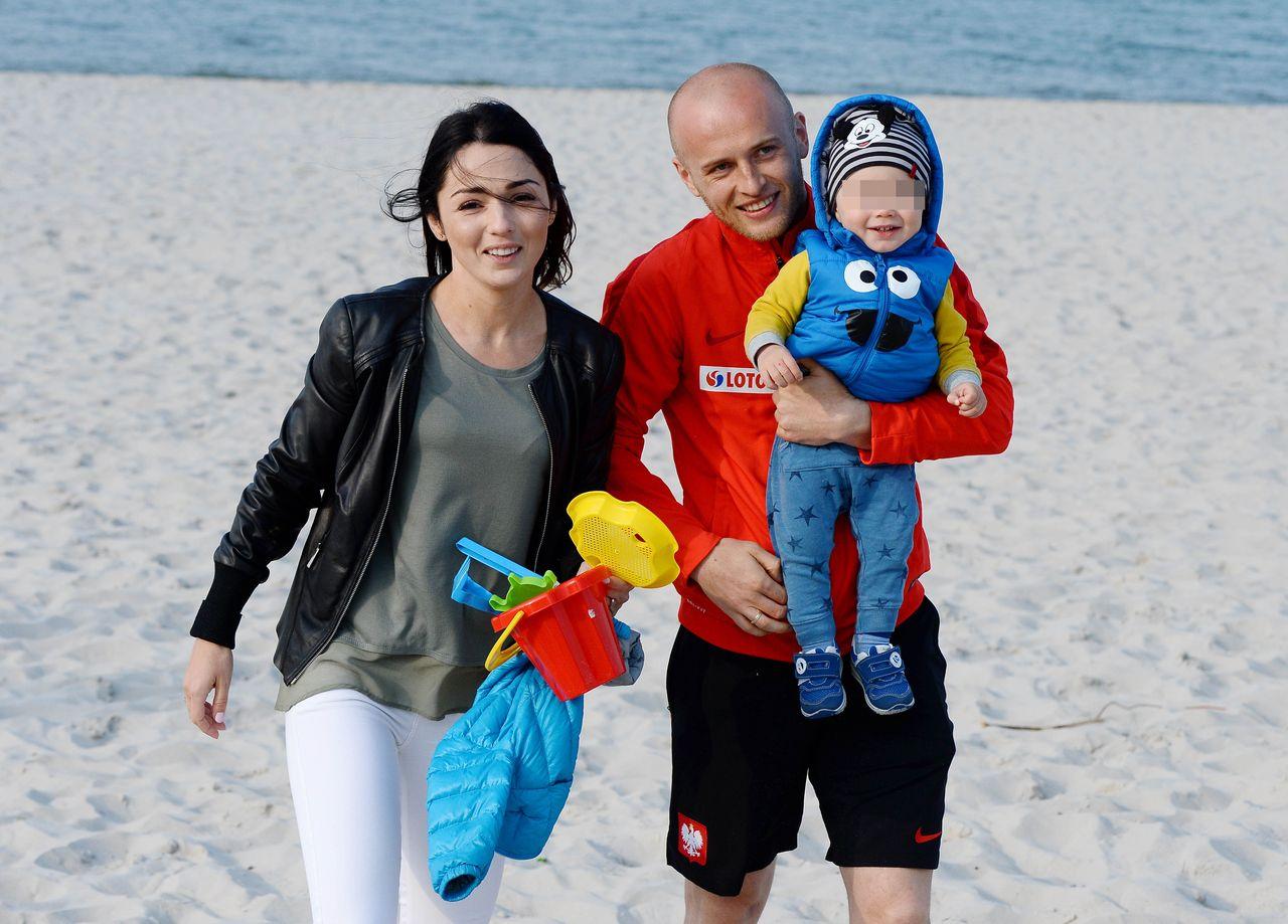 MIchal Pazdan z żoną Dominiką i synem