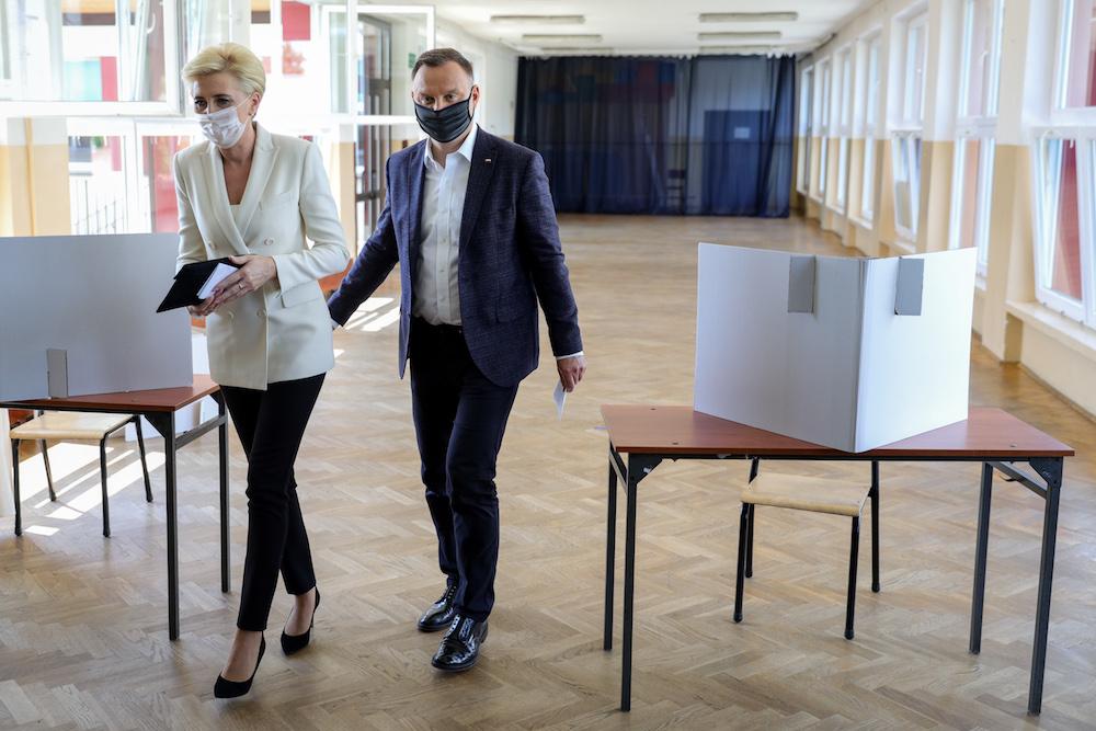 Prezydent Andrzej Duda i pierwsza dama Agata Kornhauser-Duda. Fot. Filip Radwanski / FORUM