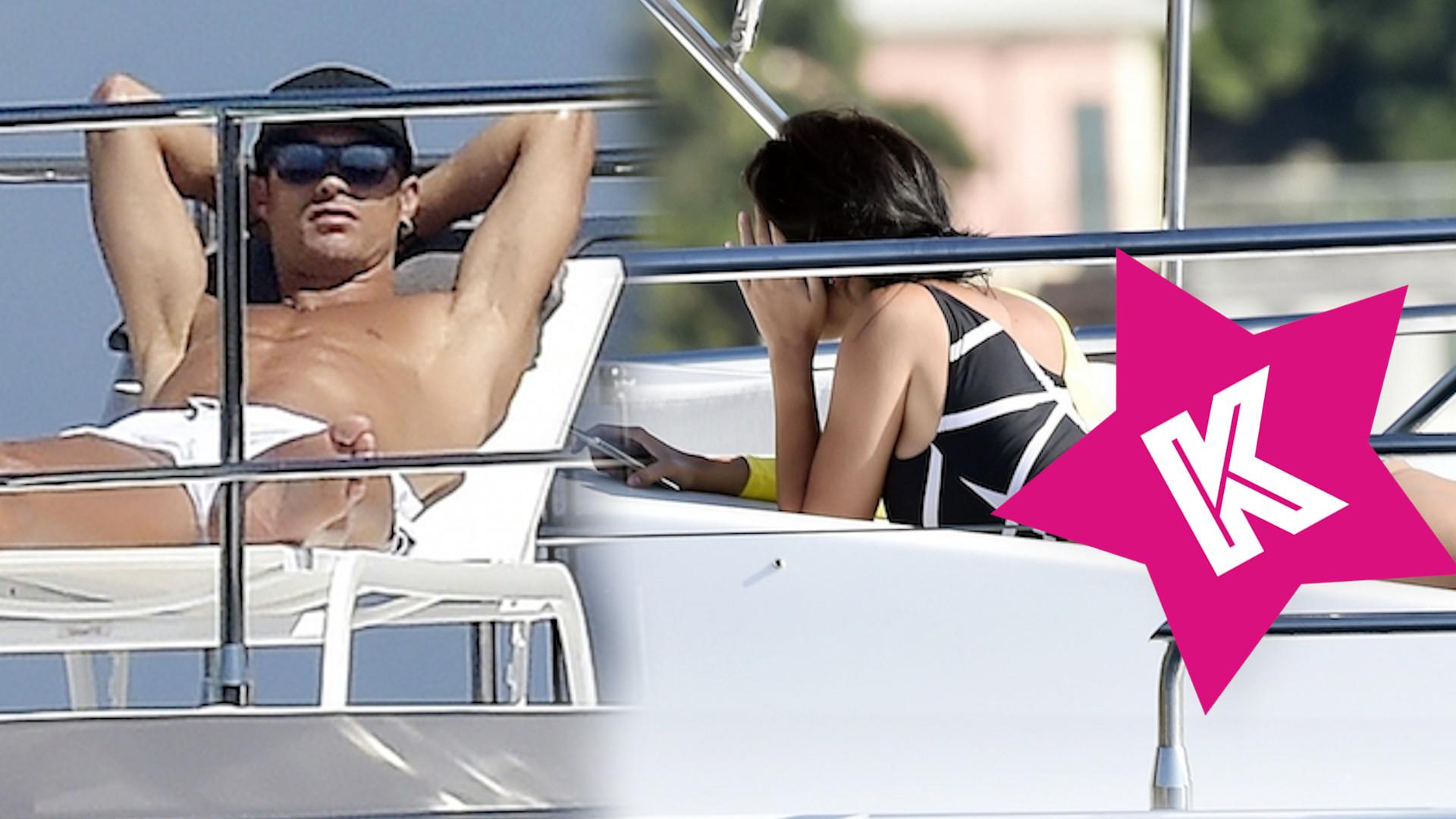 Cristiano Ronaldo z narzeczoną przyłapany na jachcie. Georgina Rodriguez bez makijażu i stroju kąpielowym