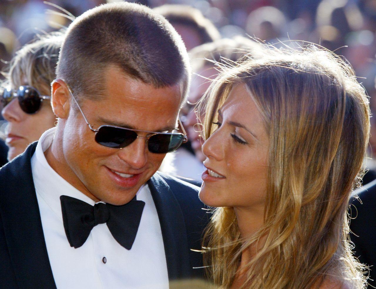 Brad Pitt i Jennifer Aniston na imprezie
