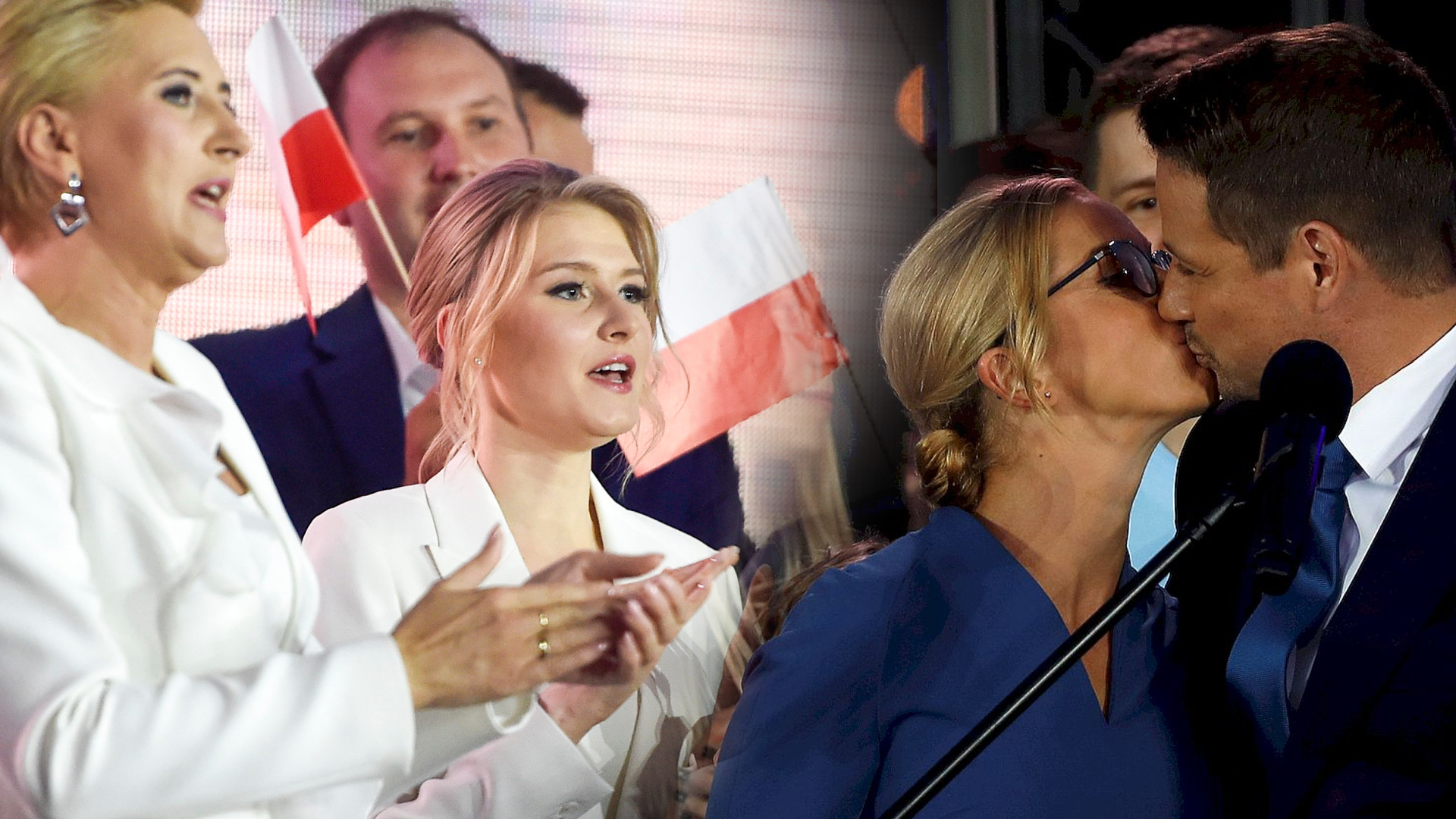 Andrzej Duda i Rafał Trzaskowski z rodzinami na wieczorze wyborczym. Kinga Duda ZACHWYCIŁA stylizacją (ZDJĘCIA)