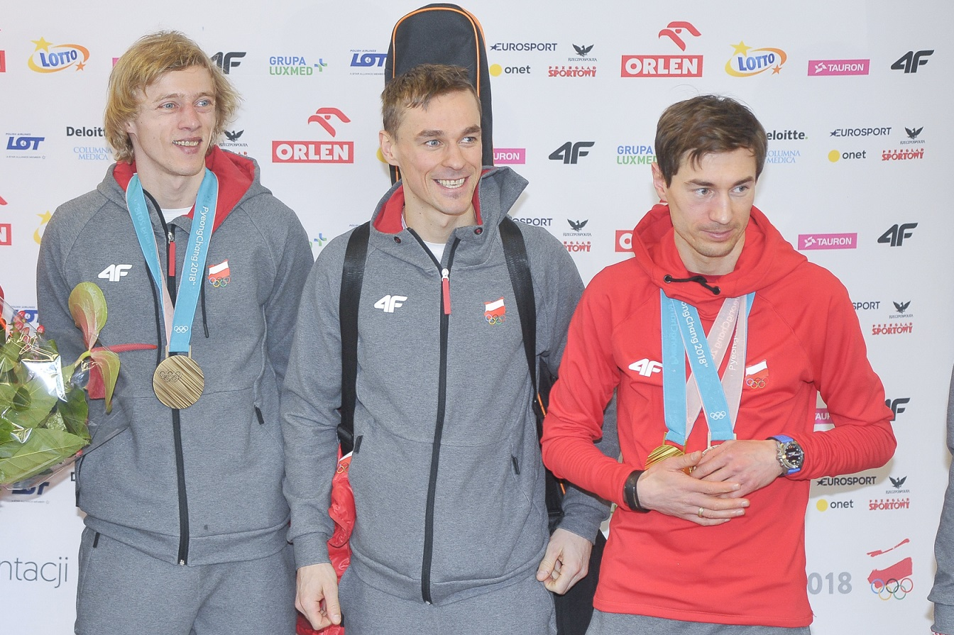 Dawid Kubacki, Piotr Żyła, Kamil Stoch. Fot. Niemiec/AKPA