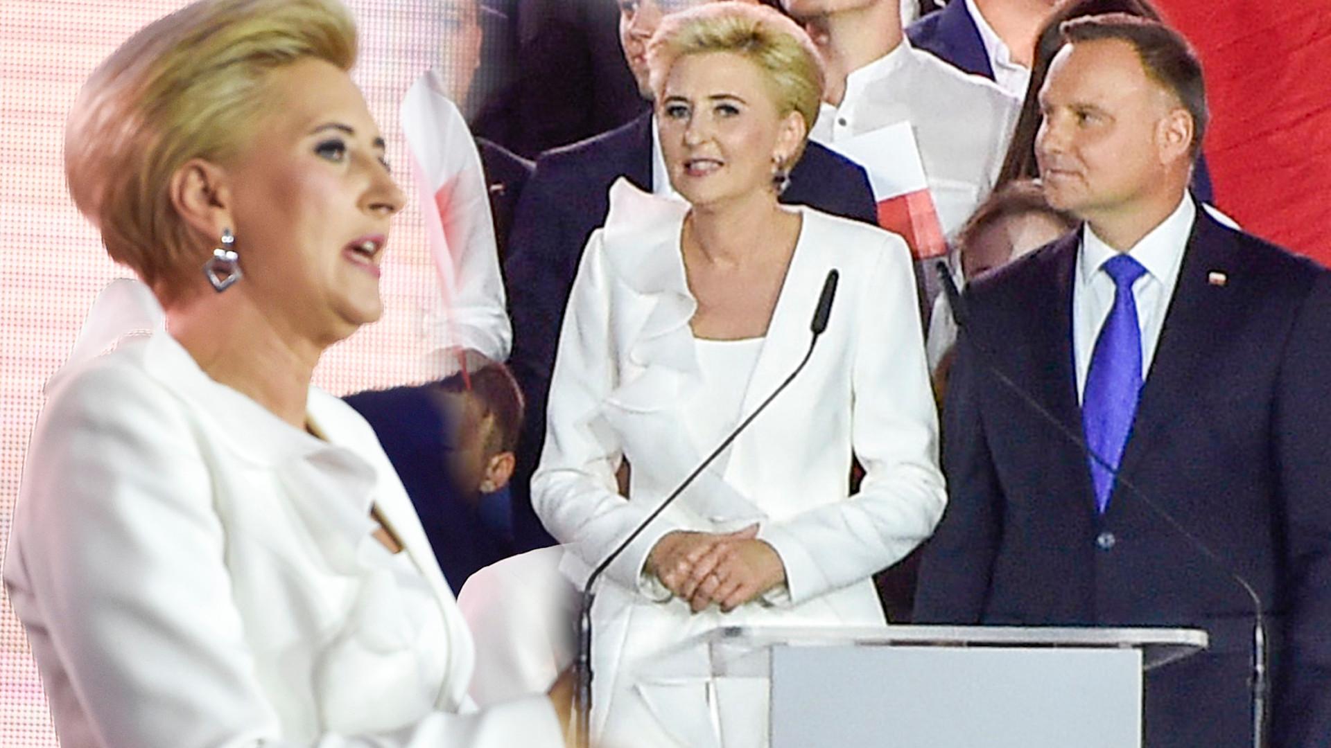 Agata Duda w białym garniturze na wieczorze wyborczym. Miała go na sobie dwa lata temu