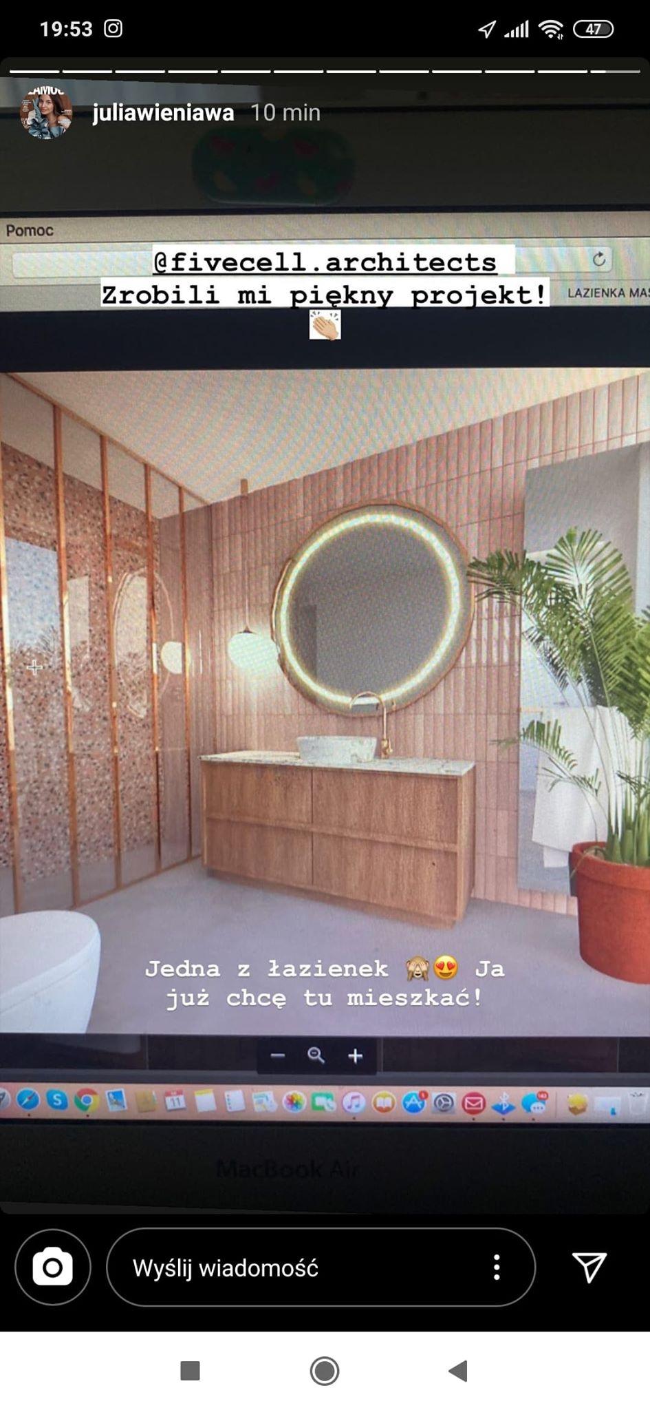 Nowe mieszkanie Julii Wieniawy fot. Instagram @juliawieniawa