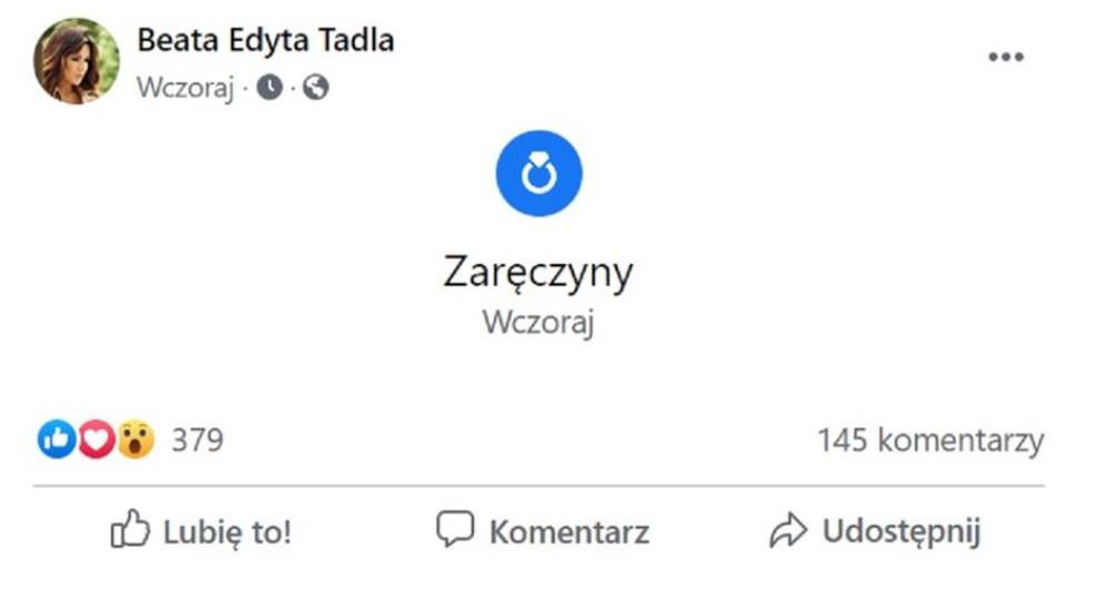 Beata Tadla zaręczyła się.