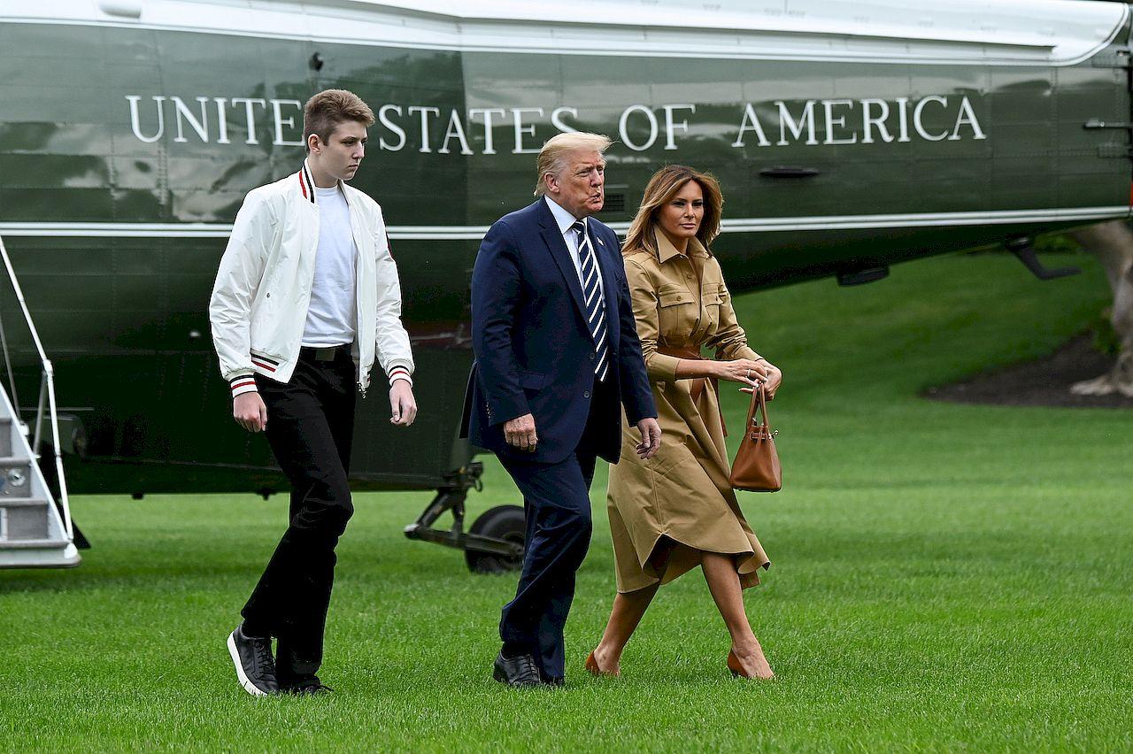 Donald Trump i Melania Trump z synem Barronem