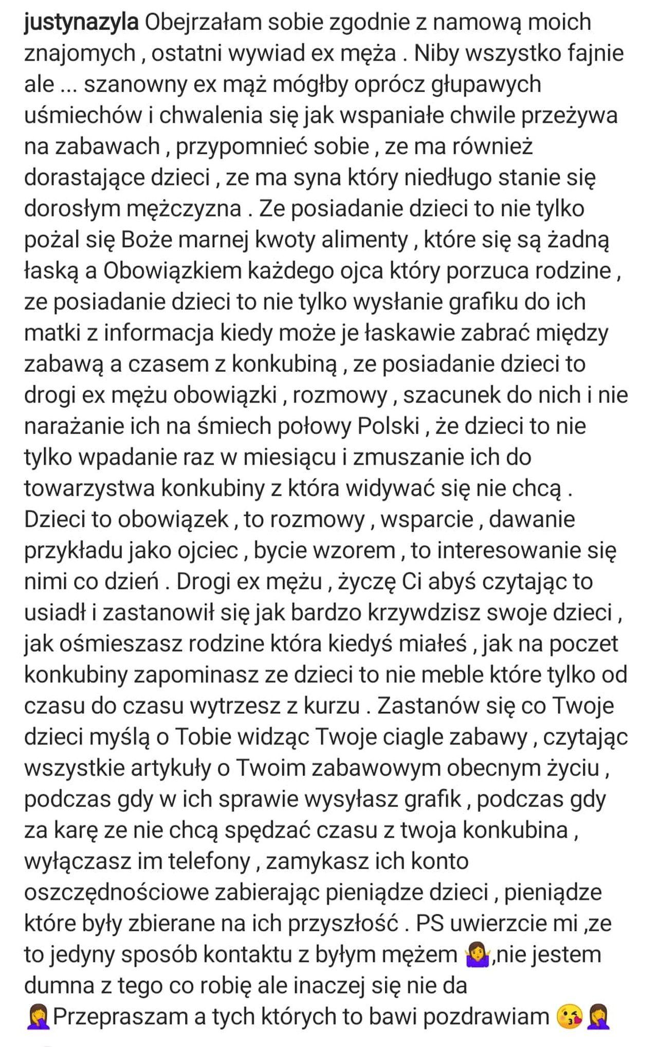 Justyna Żyła uderza w byłego męża
